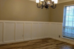 Dining room with new paint, wood grain tile and custom wood paneling